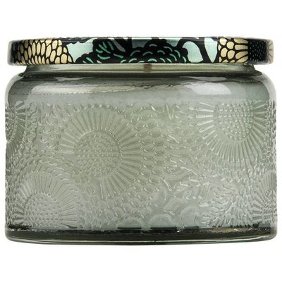 VOLUSPA PETITE EMBOSSED GLASS JAR CANDLE--FRENCH CADE LAVENDER