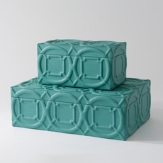 Global Views Arabesque Trapunto Box-Turquoise-Lg
