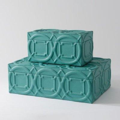 Global Views Arabesque Trapunto box-Turquoise-Sm