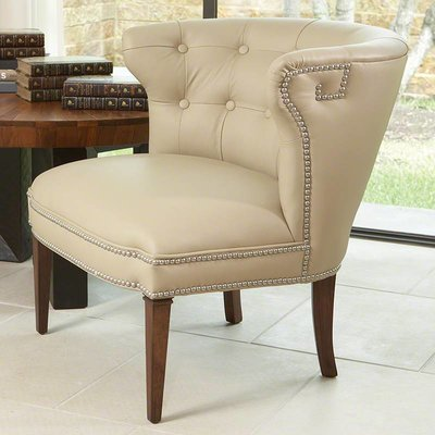 Global Views Greek key klismos Chair-Beige w/nickel