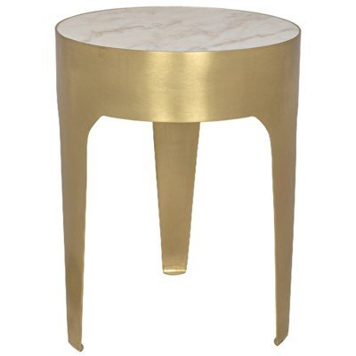 Noir Cylinder side table, metal W/brass finish