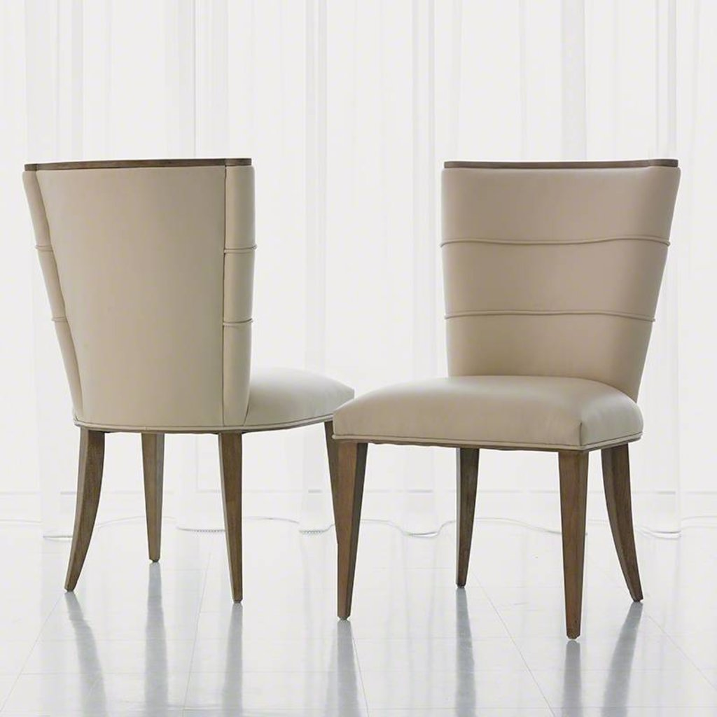 Global Views Adelaide Side Chair -Beige leather