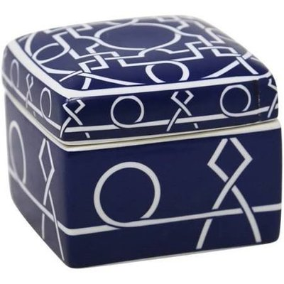 sagebrook CERAMIC COVERED BOX,MATTE BLUE/WHITE 5