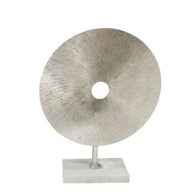 sagebrook METAL DISK SCULPTURE ON STAND,SILVER 18