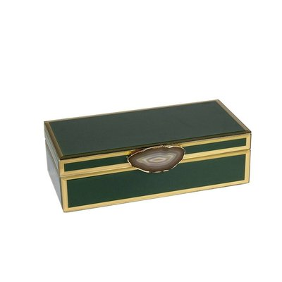 sagebrook ??? ??? DECORATIVE WOOD&CLASS STORAGE BOX W/AGATE, GREEN