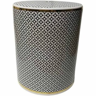 sagebrook CERAMIC GARDEN STOOL, WHITE/BLACK/GOLD