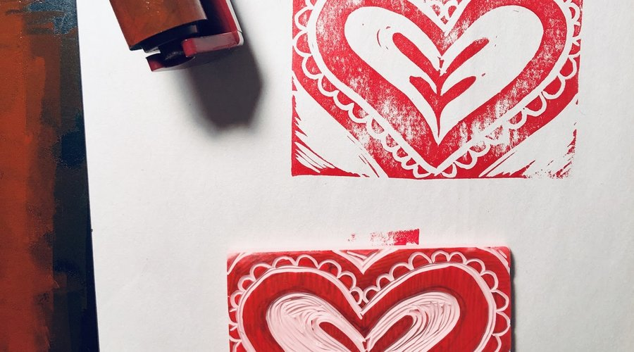 Block Printed Valentine's Cards