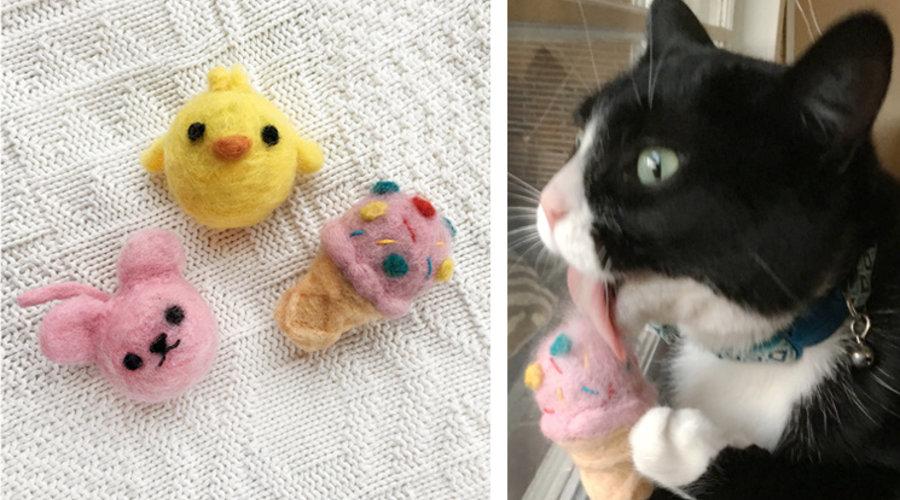 DIY: Needlefelted Cat Toys
