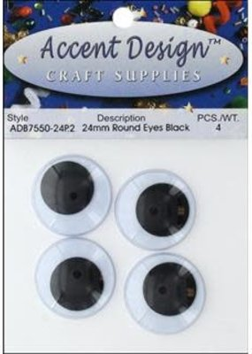 PA Essentials Flat Back Eyes Round 24mm 4pc Black