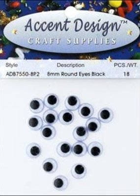 PA Essentials Flat Back Eyes Round 8 mm 18 Piece Black