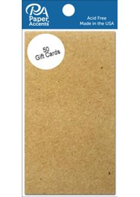 Paper Accents Gift Card 2 x 3.5 50 Piece Pack Brown Bag