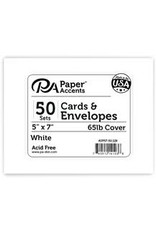 Paper Accents A7 Cards And Envelopes  5 x 7 50 Pack White
