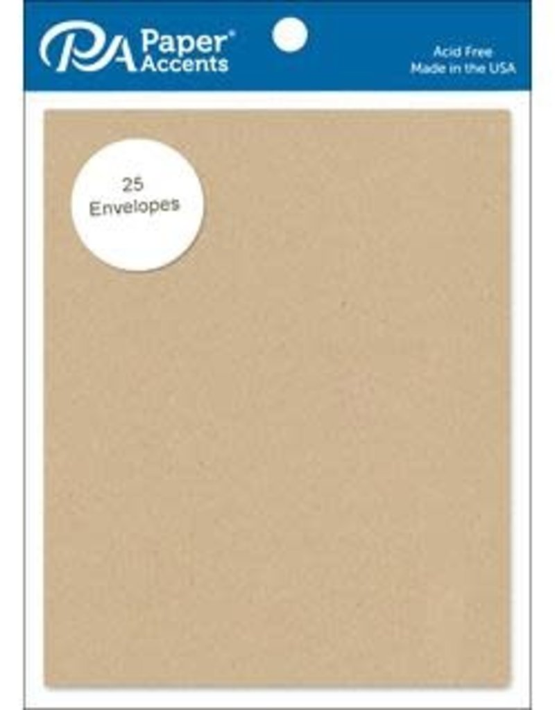 Paper Accents A2 Envelopes 4.25 x 5.5 Inch 25 Pack Brown Bag