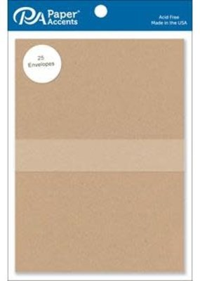 Paper Accents Envelope 5.25 x 7.25 25 Piece Recycled Kraft