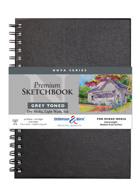 Stillman & Birn Sketchbook  Nova Series Wire Bound Grey 7 x 10 Inch