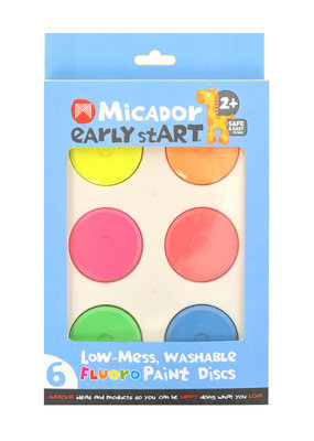 Micador Low Mess Washable 6 Color Paint Disc Sets Fluoro Colors
