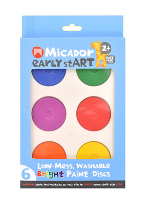 Micador Low Mess Washable 6 Color Paint Disc Sets Bright Colors