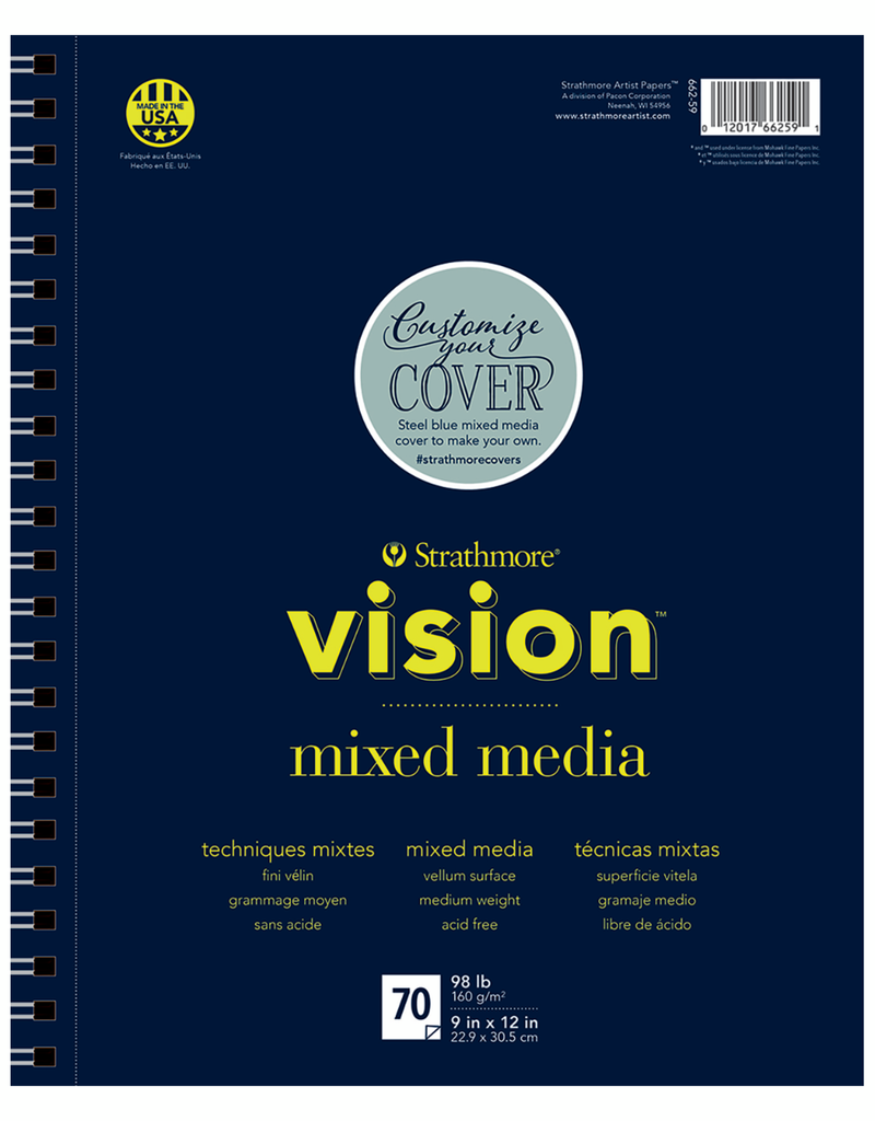 Strathmore Strathmore Vision Mixed Media Paper Pad Spiral Bound 9 x 12 Inch