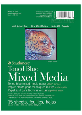 Strathmore Strathmore Toned Blue Mixed Media Paper Pad 400 Series 6 x 8 Inch
