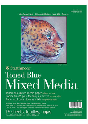 Strathmore Strathmore Toned Blue Mixed Media Paper Pad 400 Series 9 x 12 Inch