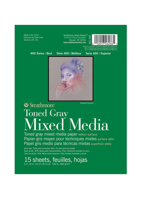 Strathmore Strathmore Toned Mixed Media Gray Paper Pad 400 Series 6 x 8 Inch