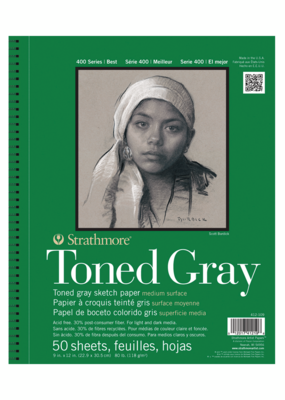 Strathmore Strathmore Toned Sketch Gray Paper Pad 400 Series 9 x 12 Inch