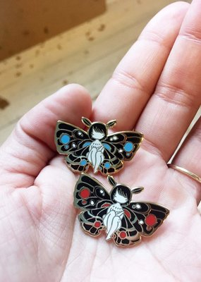 Stasia Burrington Enamel Pin Moth Girl Blue