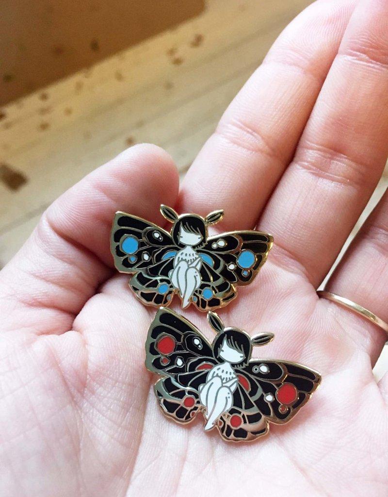 Stasia Burrington Enamel Pin Moth Girl Blue