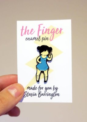 Stasia Burrington Enamel Pin The Finger