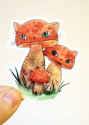 Stasia Burrington Sticker Meowshroom Boletes