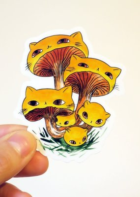 Stasia Burrington Sticker Meowshroom Chanterelles