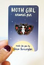Stasia Burrington Enamel Pin Moth Girl Red