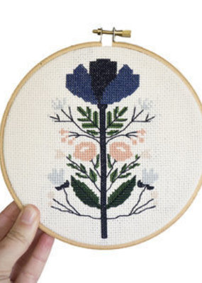 Junebug and Darlin Cross Stitch Kit Midnight Floral