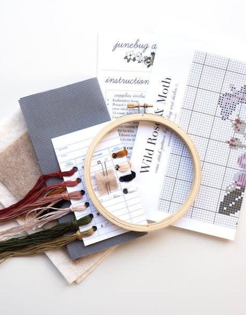 Junebug and Darlin Cross Stitch Kit Wild Rose and Moth