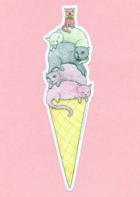 Bee's Knees Sticker Ice Cream Cats