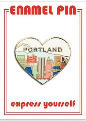 The Found Enamel Pin Portland Skyline Heart