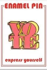 The Found Enamel Pin Vote Pink/Yellow