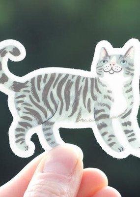Cactus Club Sticker Grey Cat