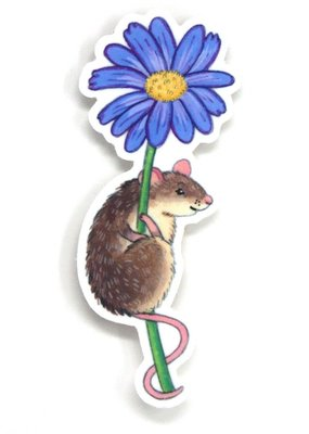 Cactus Club Sticker Mouse on Flower