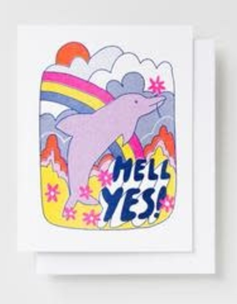 Yellow Owl Workshop Card Hell Yes! Dolphin