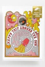 Yellow Owl Workshop Card with Lapel Pin Aquarius