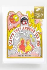 Yellow Owl Workshop Card with Lapel Pin Gemini