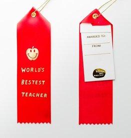 Yellow Owl Workshop Award Ribbon Note World's Bestest Teacher