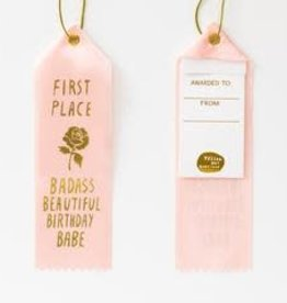 Yellow Owl Workshop Award Ribbon Note Badass Beautiful Birthday Babe