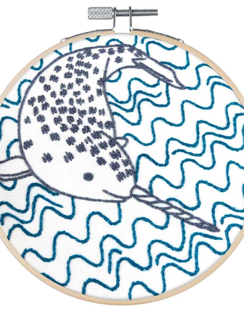 Pop Lush Embroidery Kit Narly Narwhal