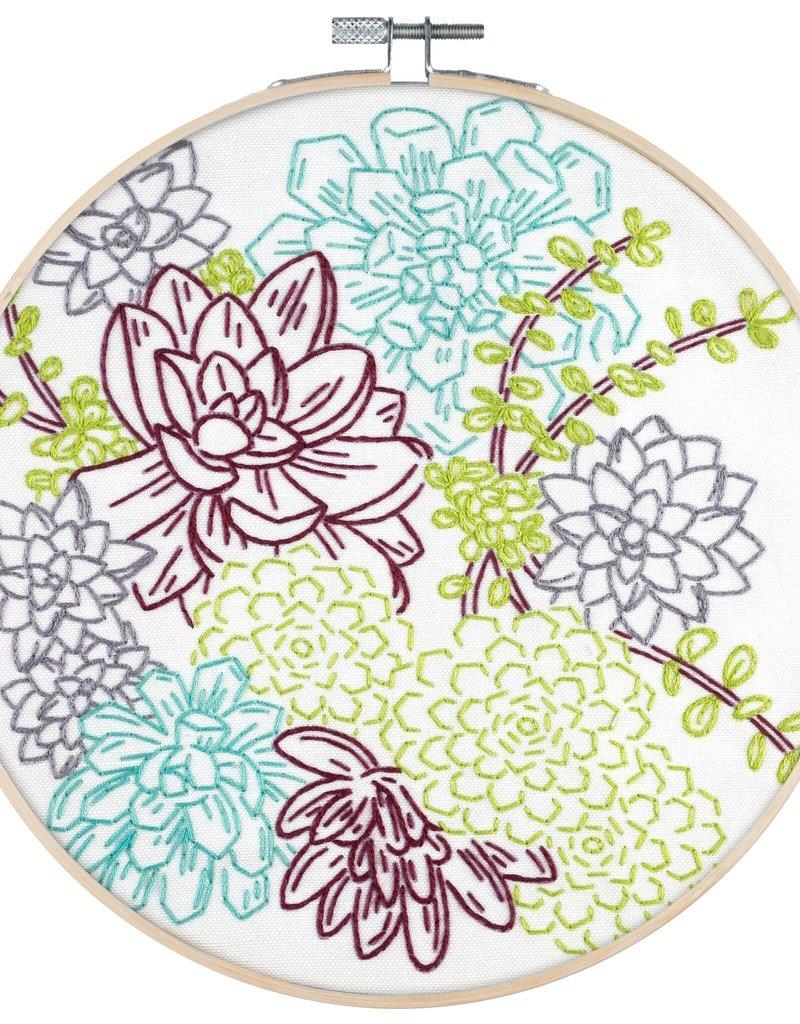 Pop Lush Embroidery Kit Succulent Garden