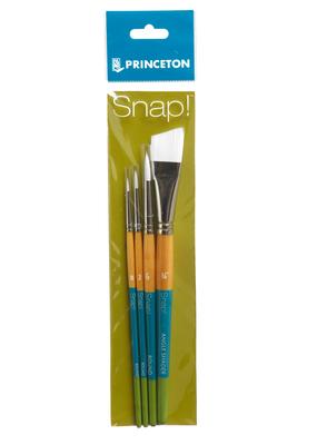 Princeton Art & Brush Co Snap Short Handle White Nylon Taklon 4 Brush Set