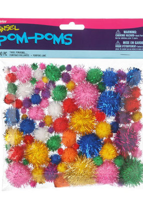 Darice Pom Poms Bright Color Tinsel Assorted Sizes 100 Pieces