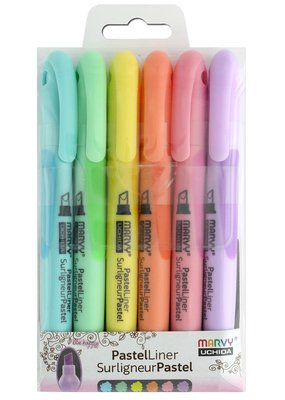 Marvy-Uchida LePen Pastel Highlighter Liner Chisel Six Pack