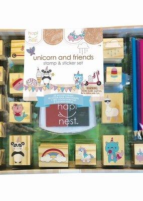 hapi nest Stamp and Sticker Set Unicorn and Friends